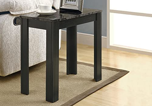Monarch specialties , Accent Side Table, Marble-Look Top, Black Grey, 24 L