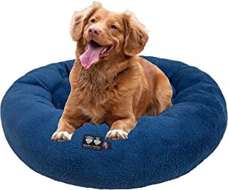 product image for Ultra Plush Deluxe Comfort Pet Dog & Cat Blue Snuggle Bed (Multiple Sizes) - Machine Washable, Made in the USA, Reversible, Durable Soft Fabrics