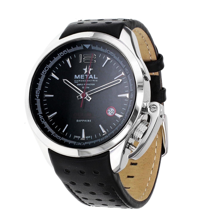 Metal CH Data Line Herren Armbanduhr 8120.41 mit schwarzem Analog-Zifferblatt und Lederband - Quarzuhrwerk