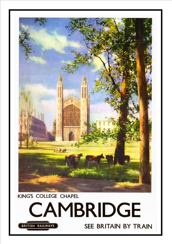 CAMBRIDGE PUNTING RAILWAY TRAVEL POSTER VINTAGE RETRO ADVERTISING ART PRINT