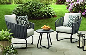 Modern 3-Piece Outdoor Bistro Set with Cushions