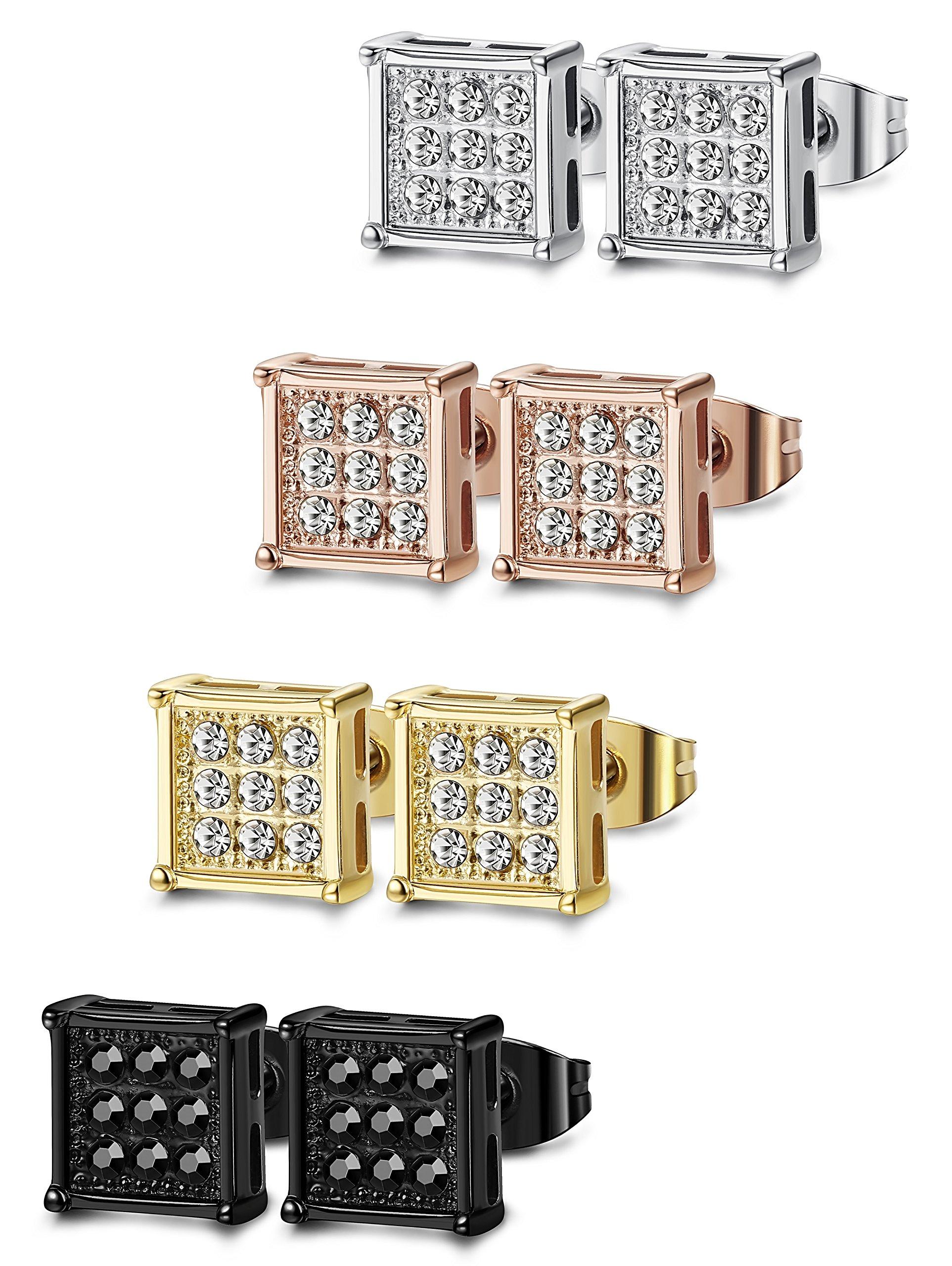 FIBO STEEL 4 Pairs Stainless Steel Stud Earrings for Men Women Square CZ Earrings,6MM