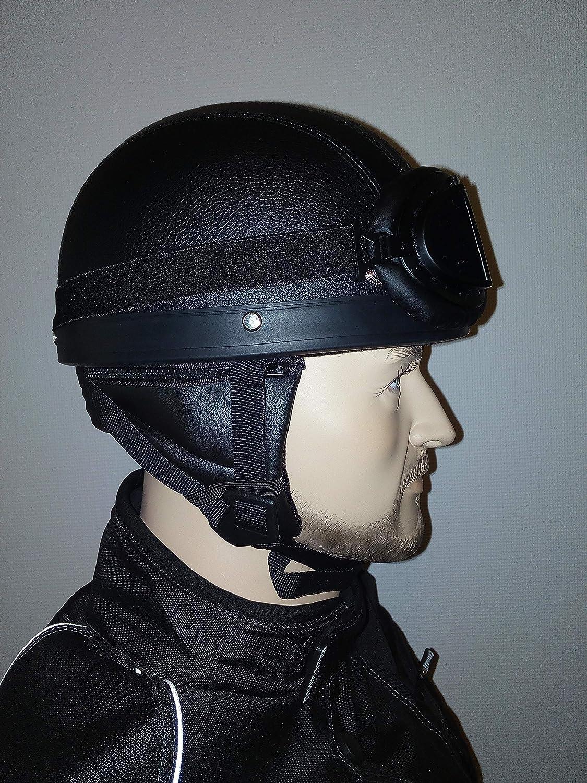 CHEYENNE Retro Oldtimer Helm mit PU-Leder bezogen und Fliegerbrille 55//56 cm S