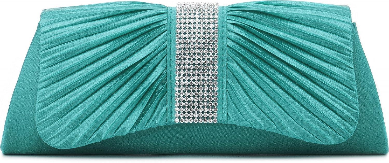 VINCENT PEREZ, Clutch, Abendtaschen, Umhängetaschen, Unterarmtaschen aus Satin mit Raffung und Strasssteinen, mit abnehmbarer Kette (120 cm) 27x11x5 cm (B x H x T) Umhängetaschen Farbe:Grau