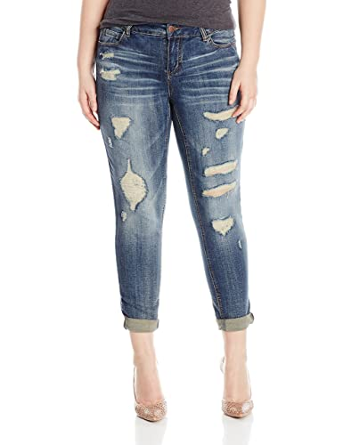 dollhouse Women's Destructed Roll up Skinny Jeans