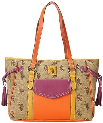 7ceb0761bd2 Amazon.com  U.S. Polo Assn. Verona Tote Shoulder Bag,Chino Multi,One Size   Clothing