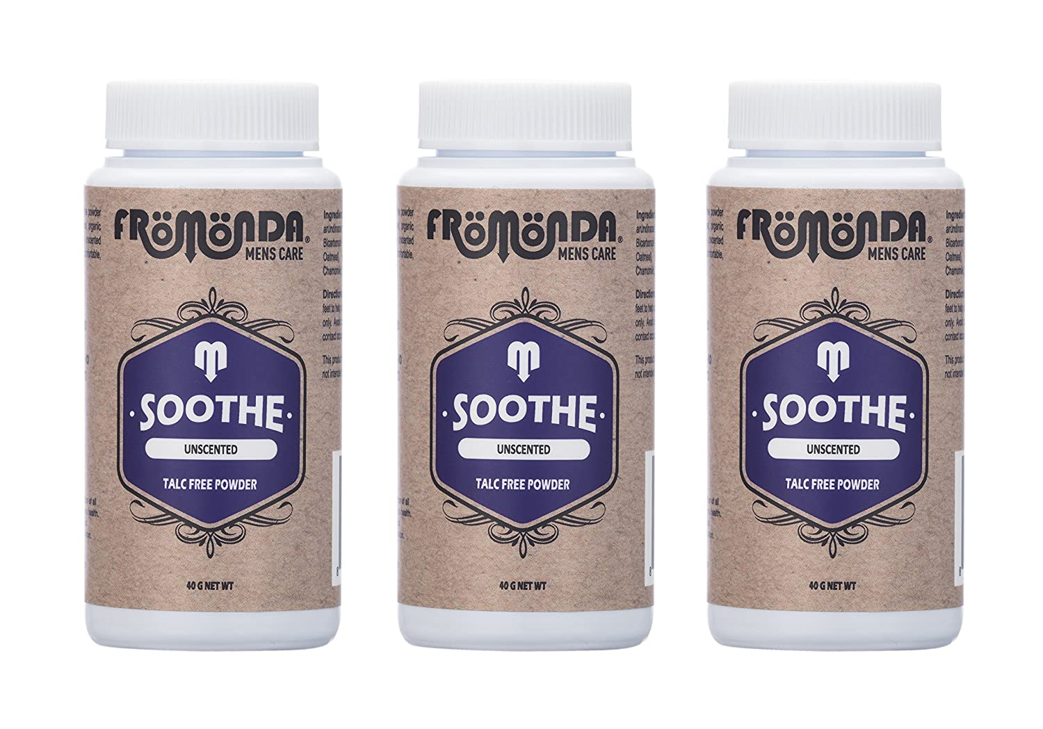 Fromonda Soothe Talc-Free Body Powder, All Natural Unscented (3 Pack), Trial Size