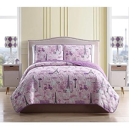 Paris Quilt Set Twin Size Pink Purple