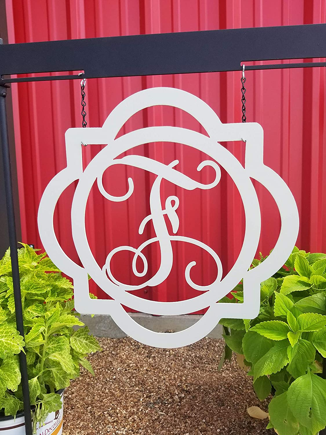 Tamengi Letter F Metal Monogram Personalized Metal Sign Wall Hanging Wall Address Plaque Room Decor Monogram Wall Art Outdoor Indoor Metal Sign 14inch