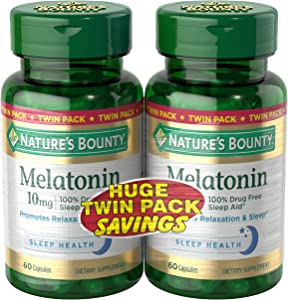 Nature's Bounty Melatonin Pills and Dietary Supplement, Promotes Relaxation and Sleep Aid, 10mg, 60 Capsules, 2 Pack