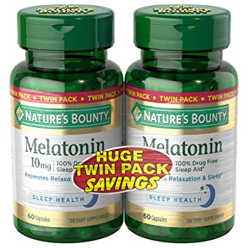 Natures Bounty Melatonin Pills and Dietary Supplement, Promotes Relaxation and Sleep Aid, 10mg,