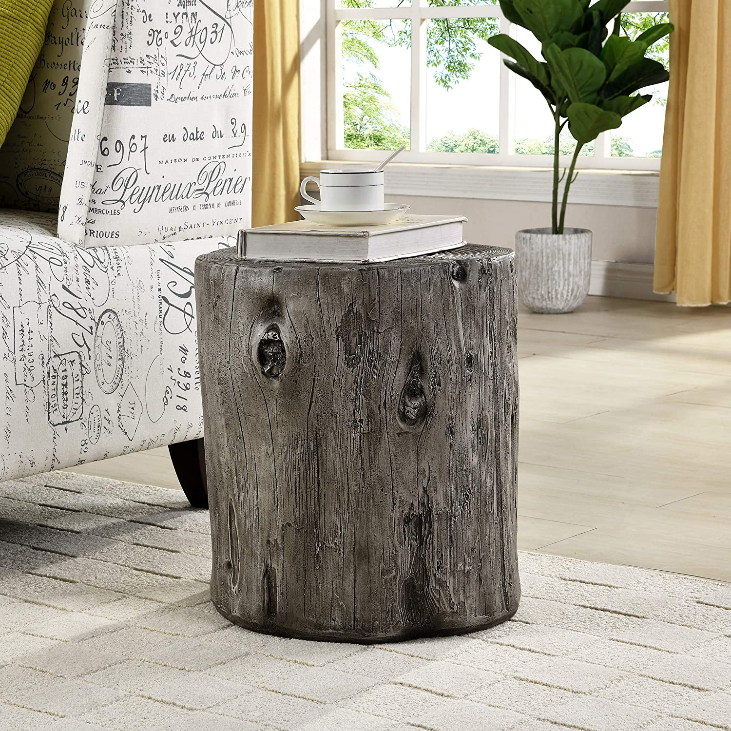 FirsTime & Co. Gray Arbor Log Table, American Crafted, Weathered Gray, 15 x 14 x 17