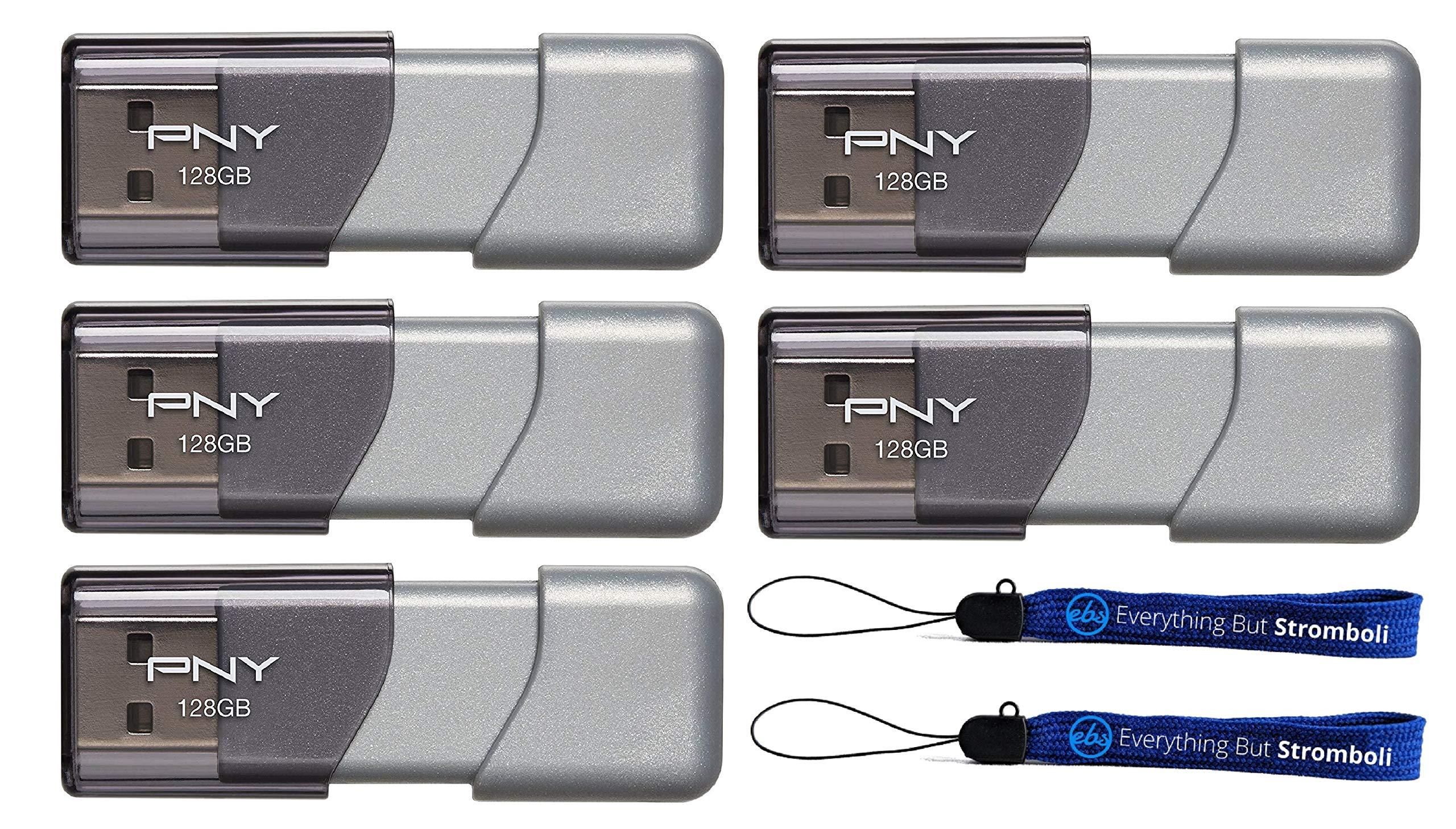 PNY 128GB USB 3.0 Flash Drive Elite Turbo Attache 3 (Five Pack Bundle) Model P-FD128TBOP-GE Plus (2) Everything But Stromboli (TM) Lanyard