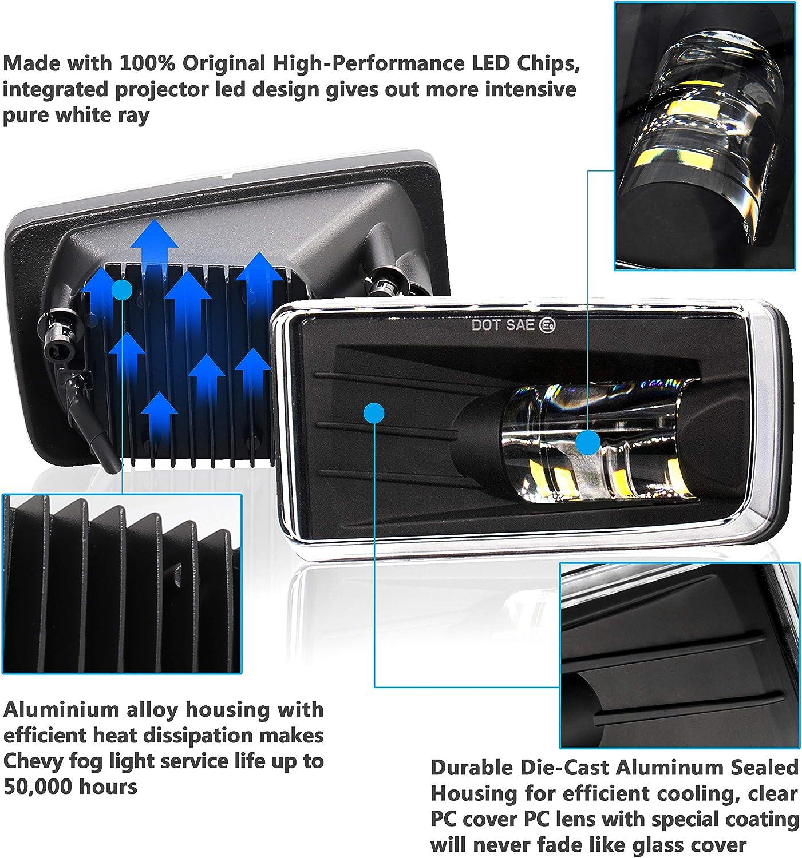 Suburban 2007-2014// Tahoe 2007-2014// GMC 07-15 Sierra//Yukon w//Off-Road Replacement Kit LED Chevy Fog Light 5202 Bulbs For Chevy Silverado 1500 2500 3500 2008-2014// Avalanche 2007-2011