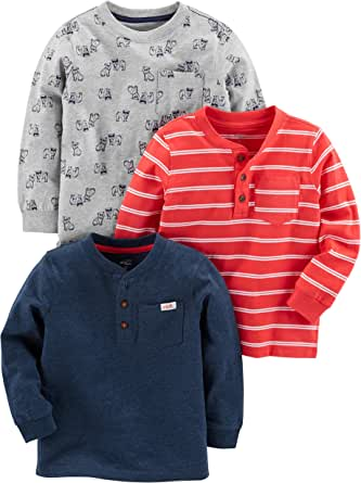 Simple Joys by Carter's paquete de 3 camisetas de manga larga para niños pequeños
