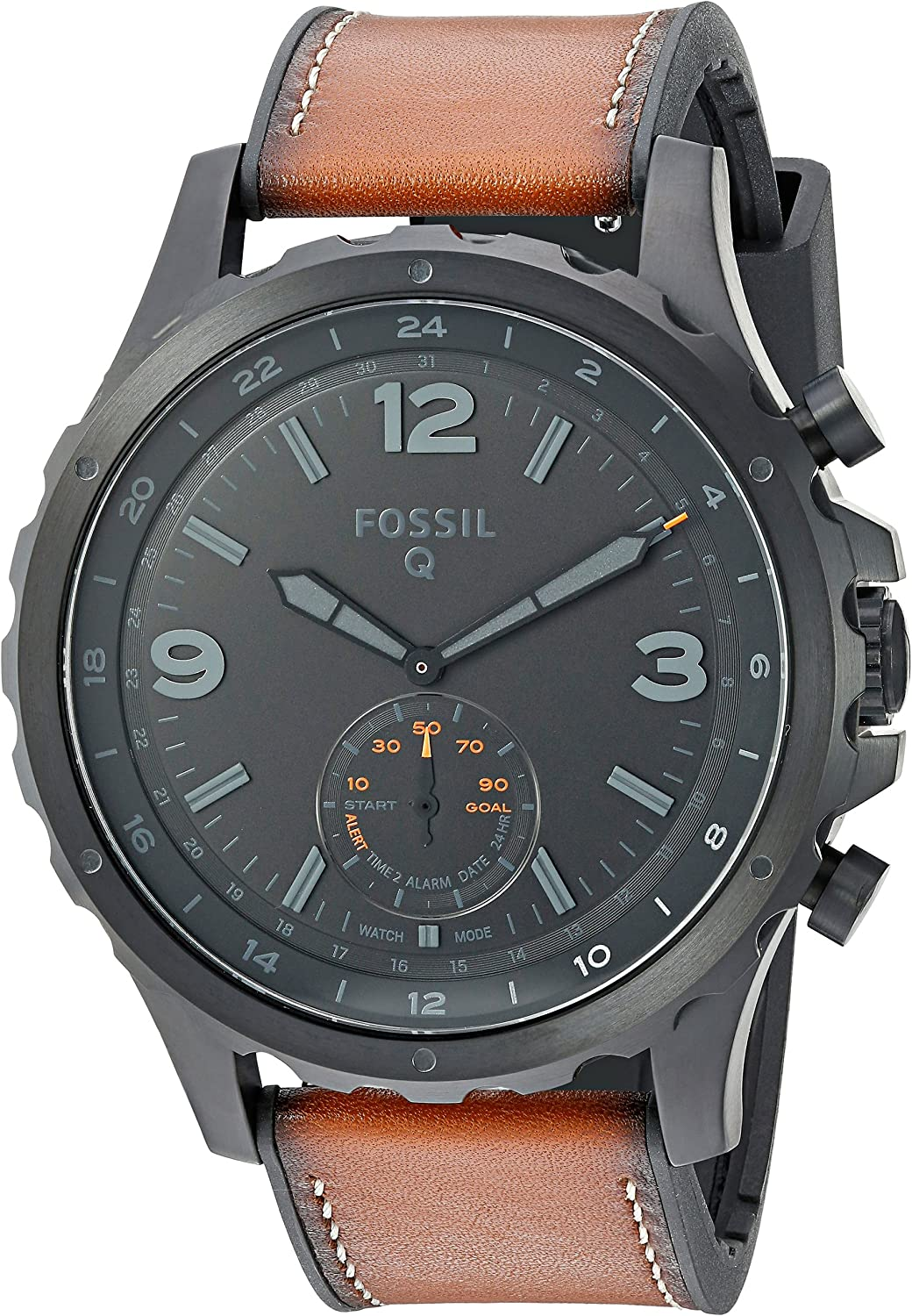 Fossil Mens Nate Stainless Steel Hybrid Smartwatch with Activity Tracking and Smartphone Notifications