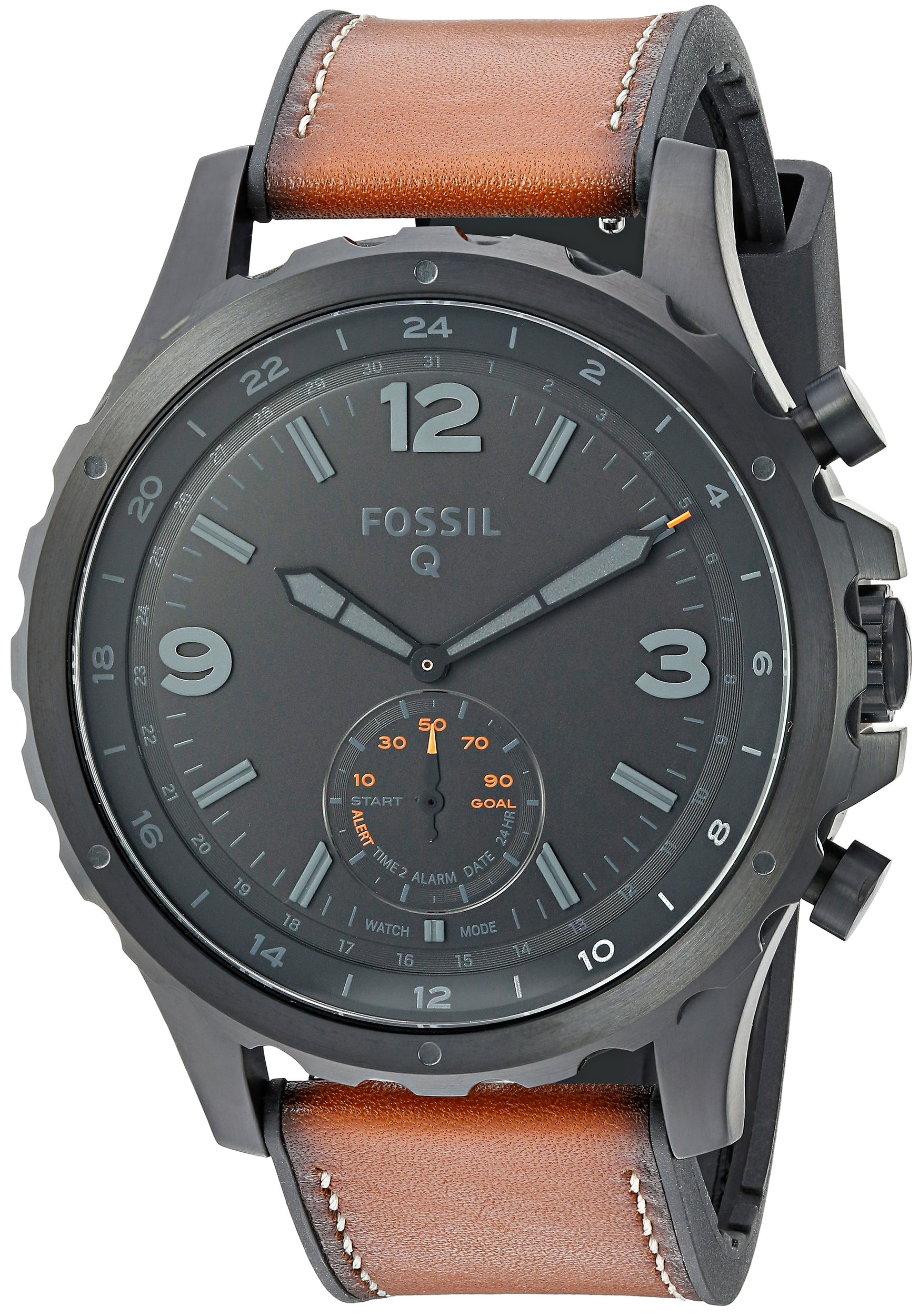 Fossil Q Men's Nate Stainless Steel and Leather Hybrid Smartwatch, Color: Black, Brown (Model: FTW1114) by Fossil