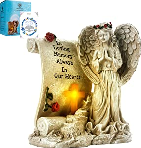 Malister Bereavement Gifts - Garden Angel Statue Sympathy Gift with Solar Led Light, Memorial Gifts, in Memory of Loved One, Cemetary Grave Decorations, Remembrance Gifts, Condolence Gifts, Angeles