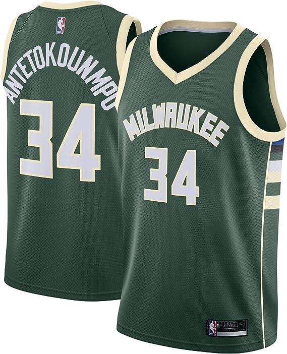 Outerstuff Giannis Antetokounmpo Milwaukee Bucks #34 Youth Icon Name /& Nummer T-Shirt Gr/ün