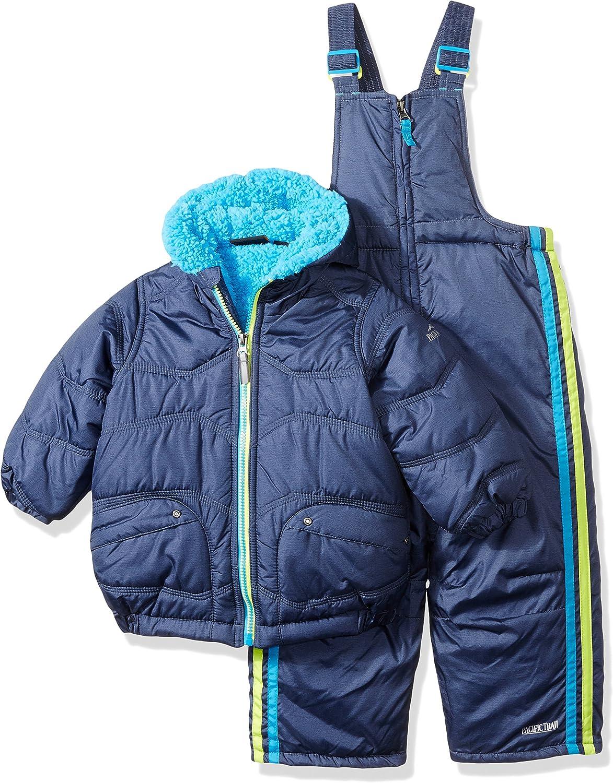 Pacific Trail Infant Boys 2-Piece Blue Gray Black Insulated Coat /& Snow Bibs Snowsuit Set