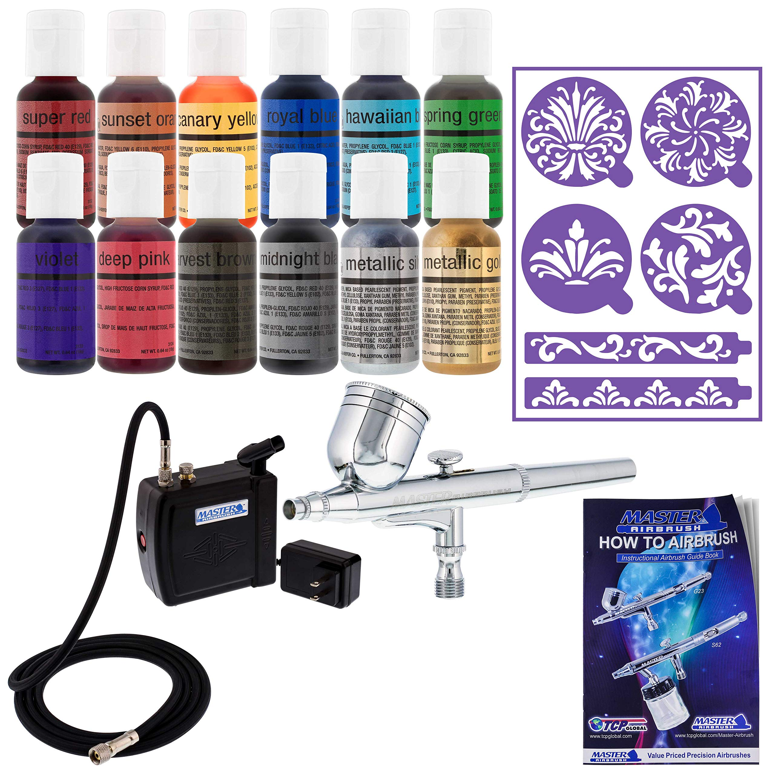 Master Airbrush Cake Decorating Airbrushing System Kit with a Set of 12 Chefmaster Food Colors, Gravity Feed Dual-Action Airbrush, Air Compressor, Wilton Stencils and How-to-Airbrush Guide Booklet by Master Airbrush