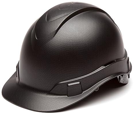 Pyramex Ridgeline Cap Style Hard Hat, 4-Point Ratchet Suspension, Black  Graphite Pattern