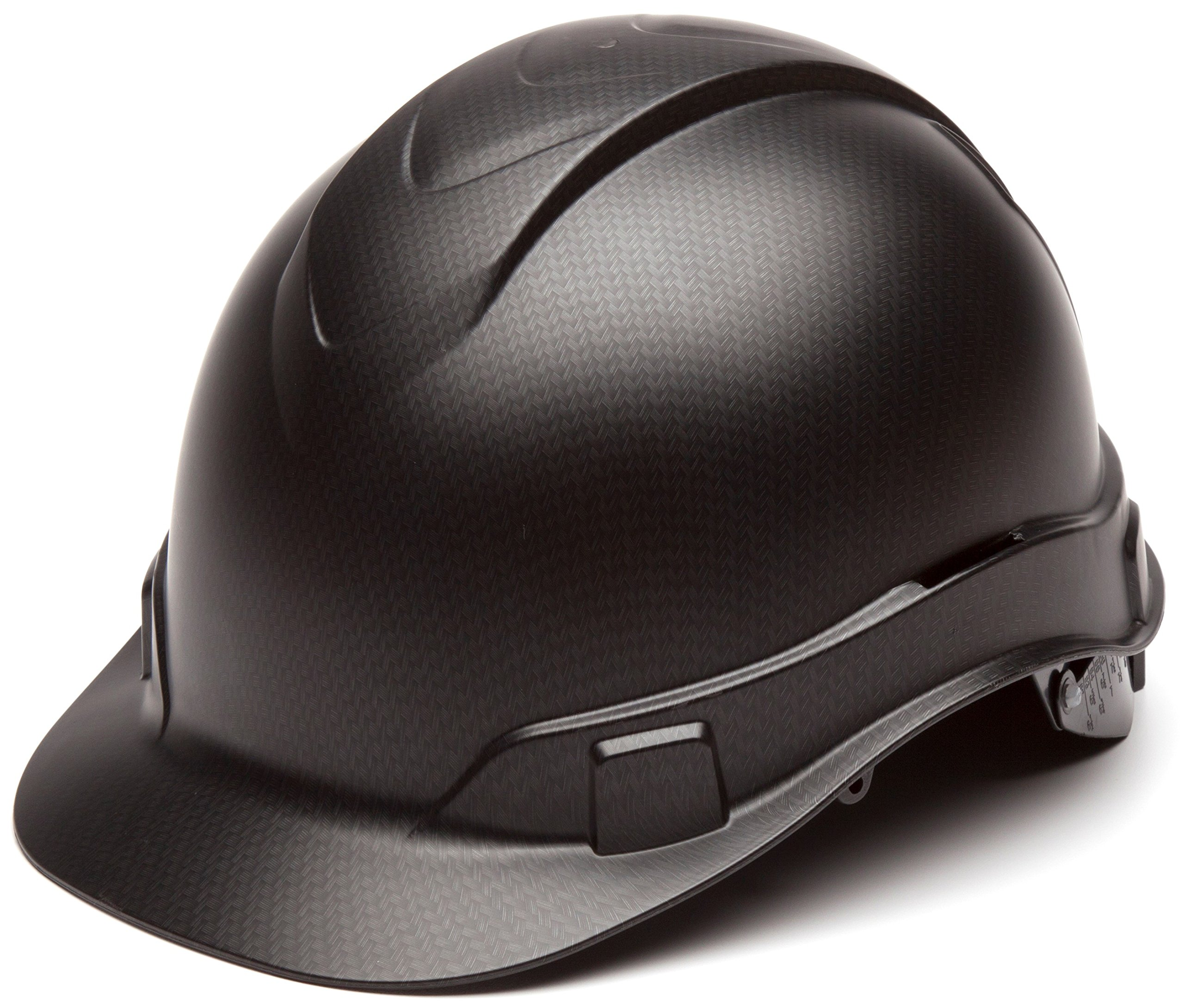 Pyramex Ridgeline Cap Style Hard Hat, 4 Point Ratchet Suspension, Black Graphite Pattern