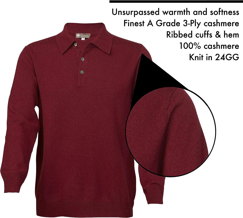 Cashmere Boutique 5 Colors, Sizes: S//M//L//XL Mens 100/% Pure Cashmere Polo Sweater