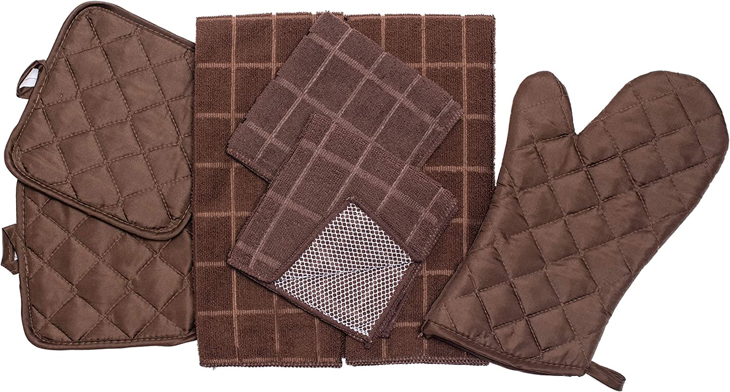 Home Collection 7 Piece Kitchen Towel Set with Dish Cloths, Pot Holders, and Oven Mitt Bundle (Brown)