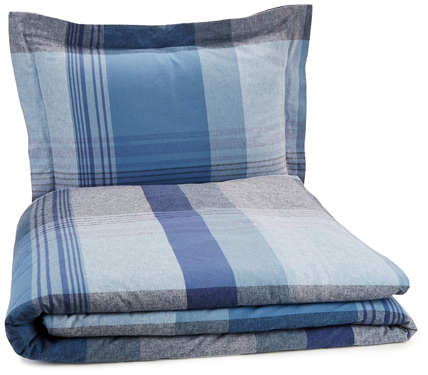 Pinzon Lightweight Cotton Flannel Duvet Set - Twin, Blue Plaid
