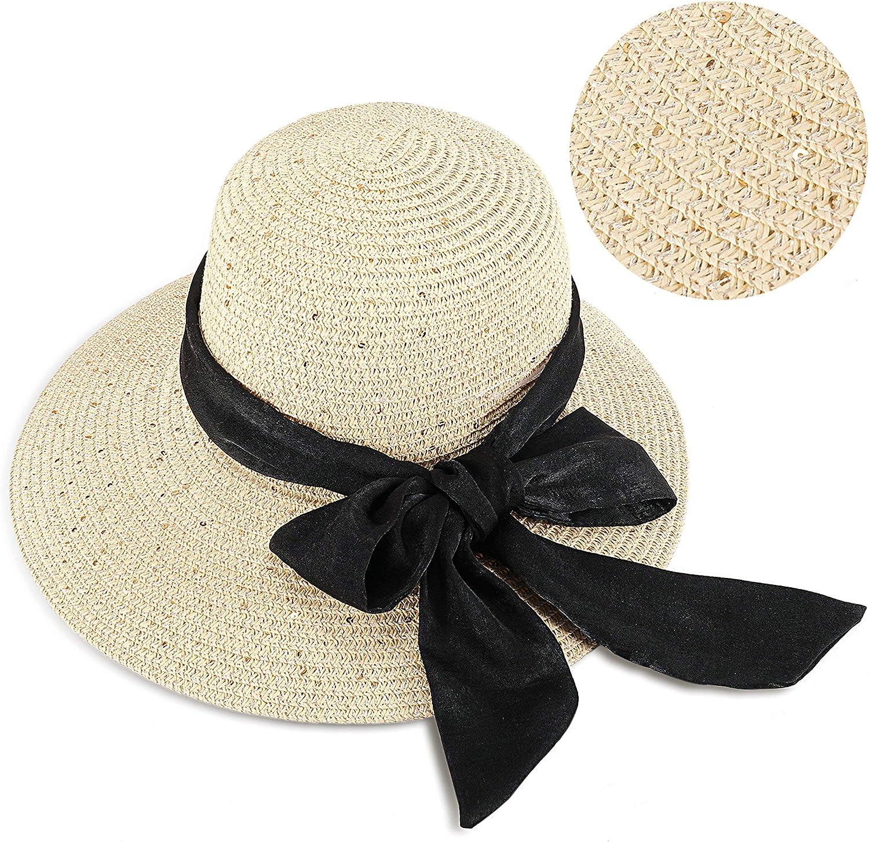 Protezione UV Cappello da Sole per Spiaggia e Vacanze Elegante Cappello di Paglia a Tesa Larga con Fiocco GIKPAL Cappello Estivo per Donna