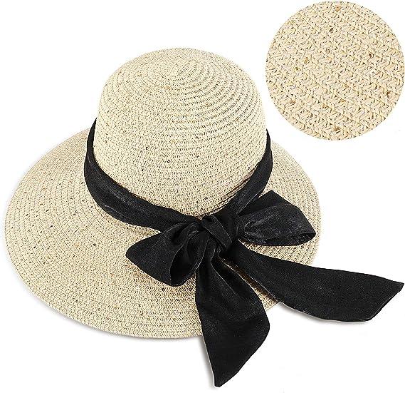 GIKPAL Chapeau de Soleil Femme Été, Chapeau de Paille Pliable à Large Bord, Capeline Soleil Anti UV Élégant Chic avec Un Joli Ruban pour la Plage et