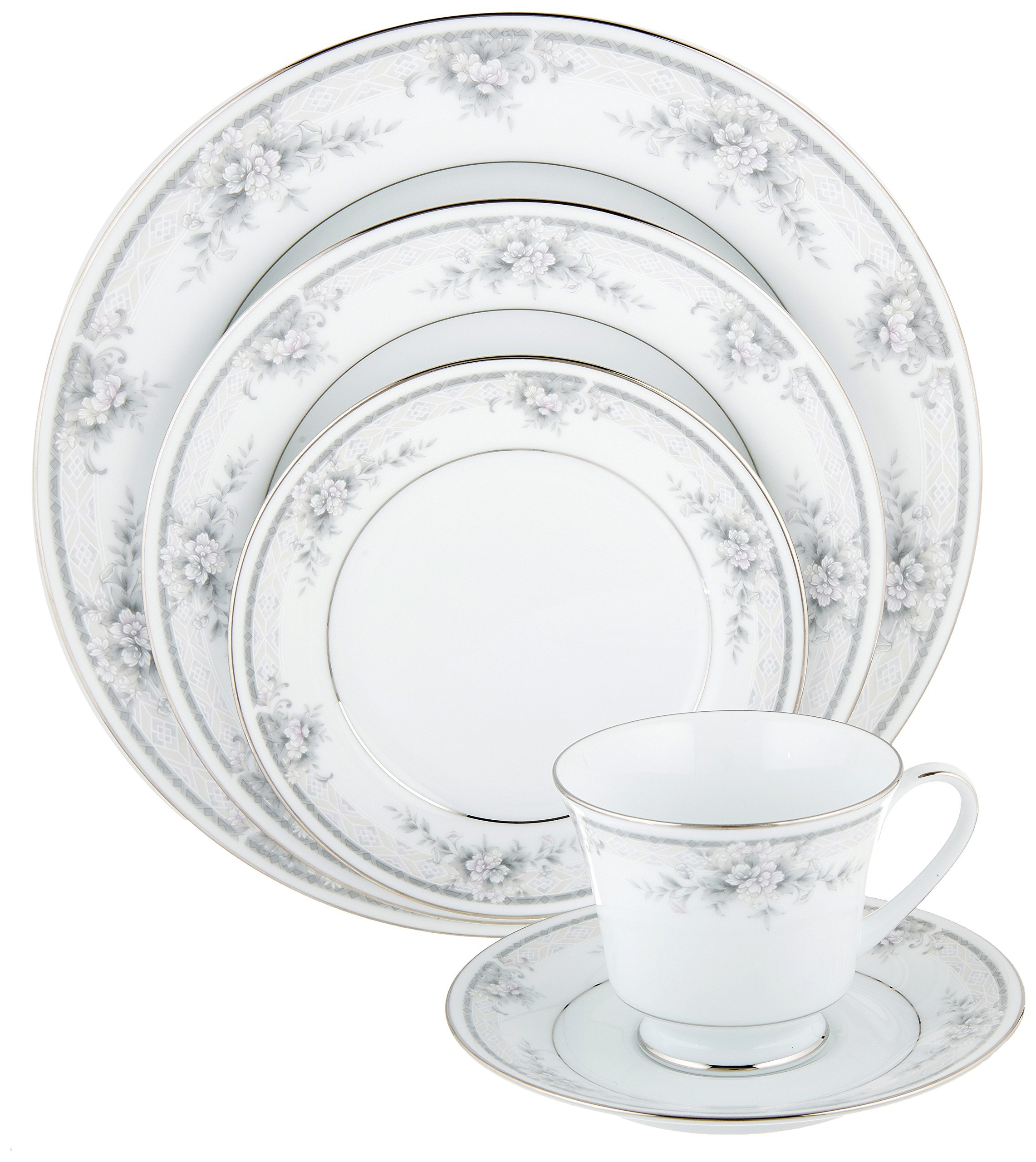Noritake Sweet Leilani - 5 piece place setting - Beautifully translucent white porcelain china Timeless classic simplicity to last a lifetime Elegant, formal design but durable enough for everyday use - kitchen-tabletop, kitchen-dining-room, dinnerware-sets - 91NPFi%2B%2BICL -