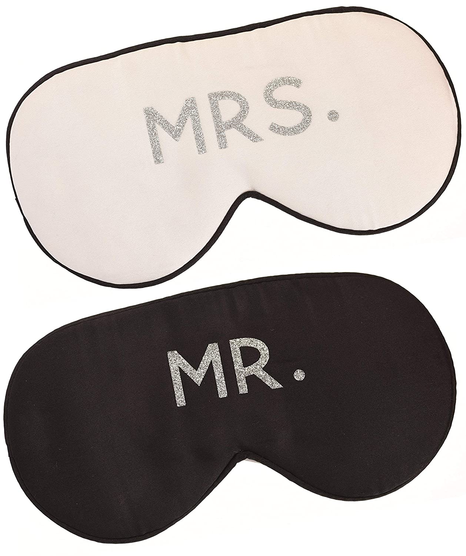 Mr. and Mrs. Silk Sleep Eye Mask Set in Black White and Silver Honeymoon Engagement Gift