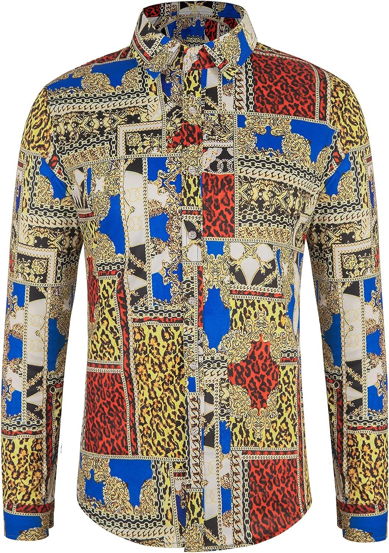 poriff Men's Retro Paisley Long Sleeve Shirt Floral Print Casual Button Down Shirt