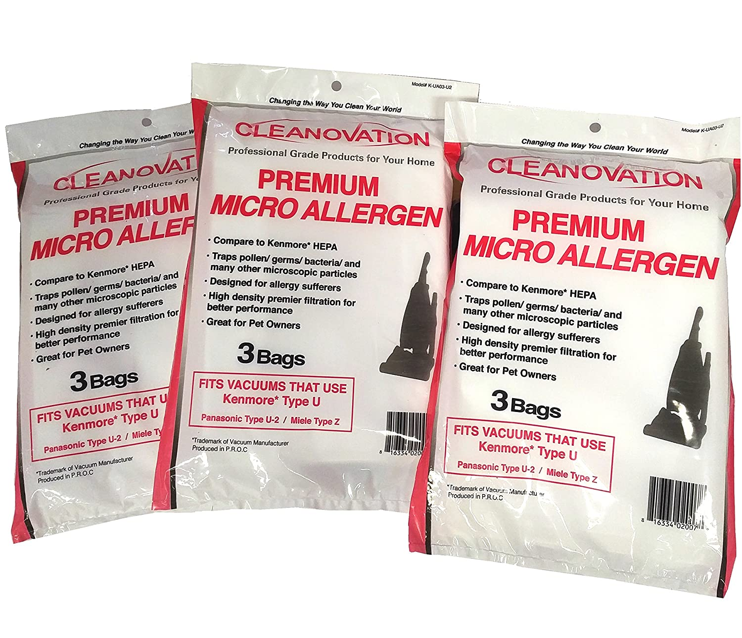 CLEANOVATION Kenmore Upright Type U (50688 & 50690) Vacuum Cleaner Bags Panasonic Type U-2 Miele Upright Type Z - 9 White Micro Allergen Bags
