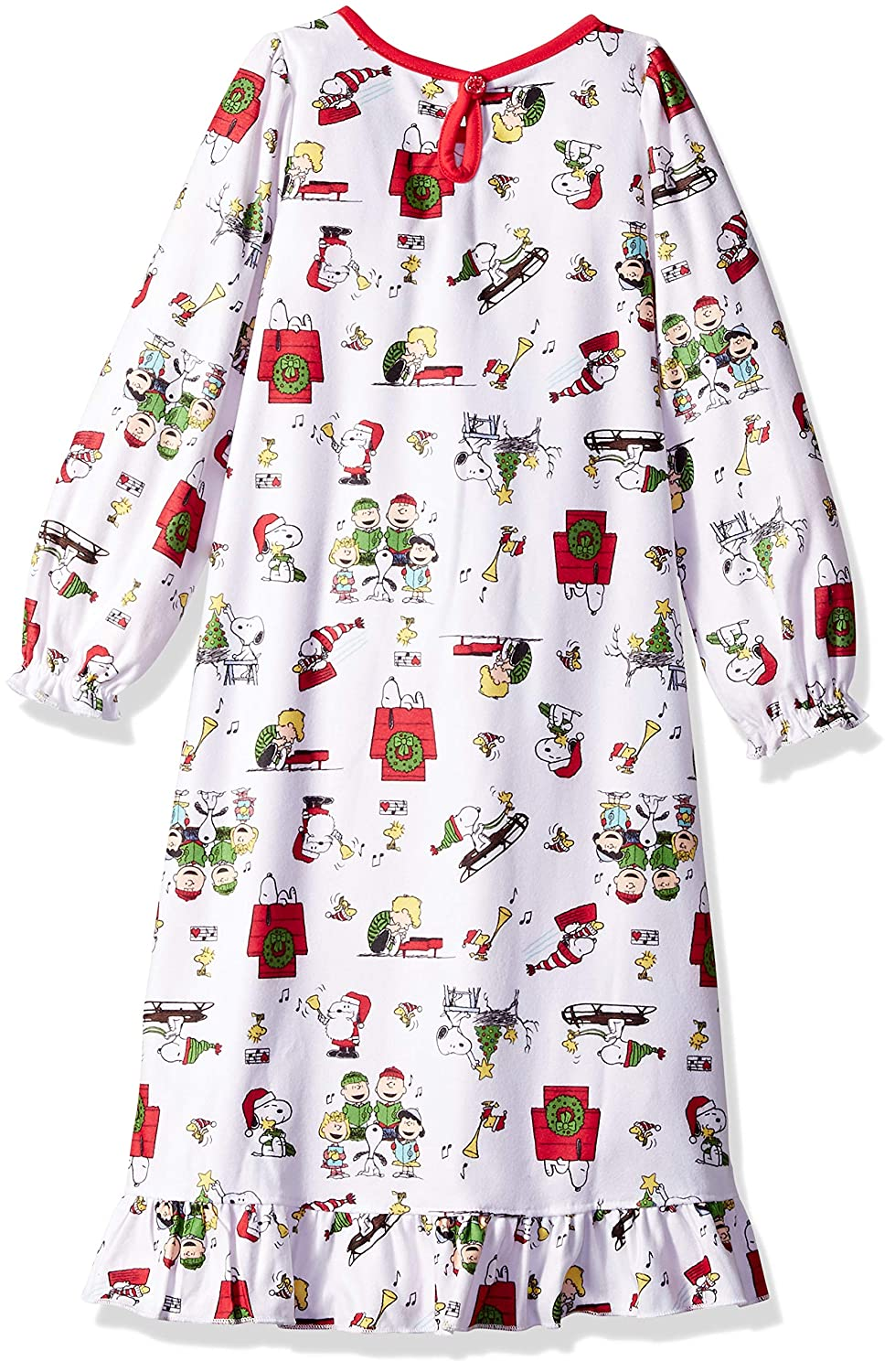 Peanuts Girls Soft Knit Flannel Holiday Granny Nightgown