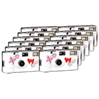 TopShot Love Hearts red Einwegkamera/Hochzeitskamera (27 Fotos, Blitz, 12-er Pack)