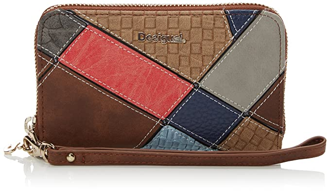 Desigual Mone_Mini Zip Atlas, Billetera para Mujer, Marrón (6001), 2x9x15 cm
