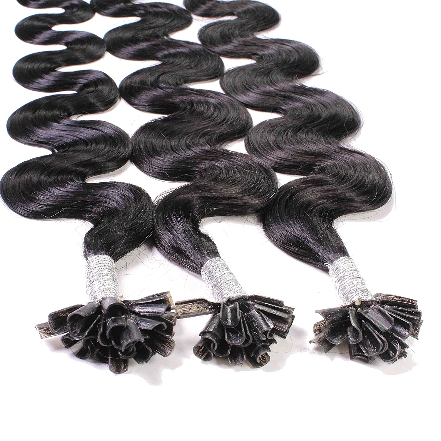 Hair2Heart 100 x 1g Extensiones de Queratina - 60cm - Corrugado, Color 1b Negro Natural: Amazon.es: Belleza