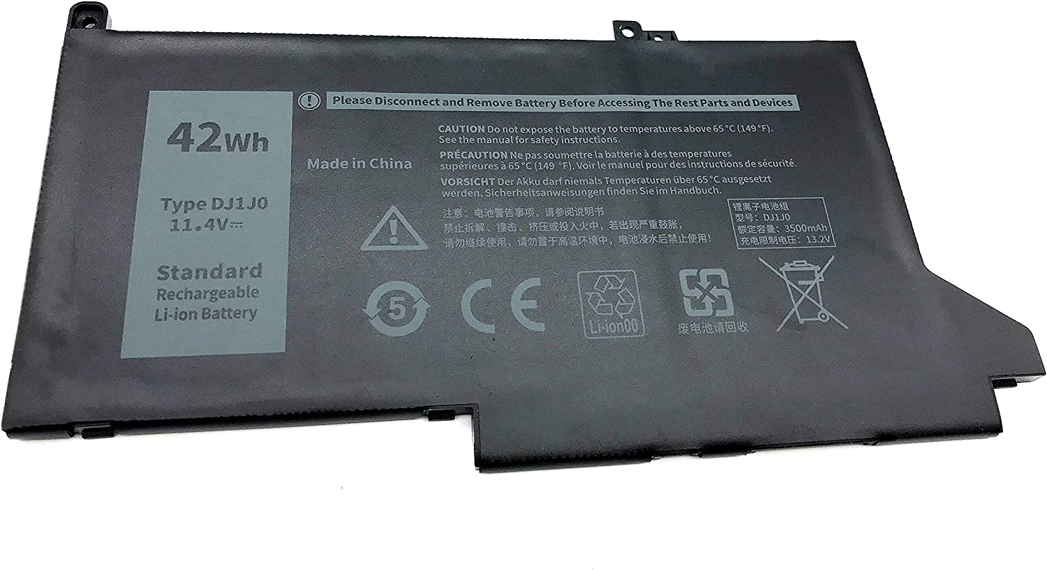 Yafda DJ1J0 11.4V 42Wh New Laptop Battery for Dell Latitude 7280 7480 7380 7290 7390 7490 E7280 E7380 E7480 E7290 E7390 E7490 Series 451-BBZL PGFX4 ONFOH DJ1JO
