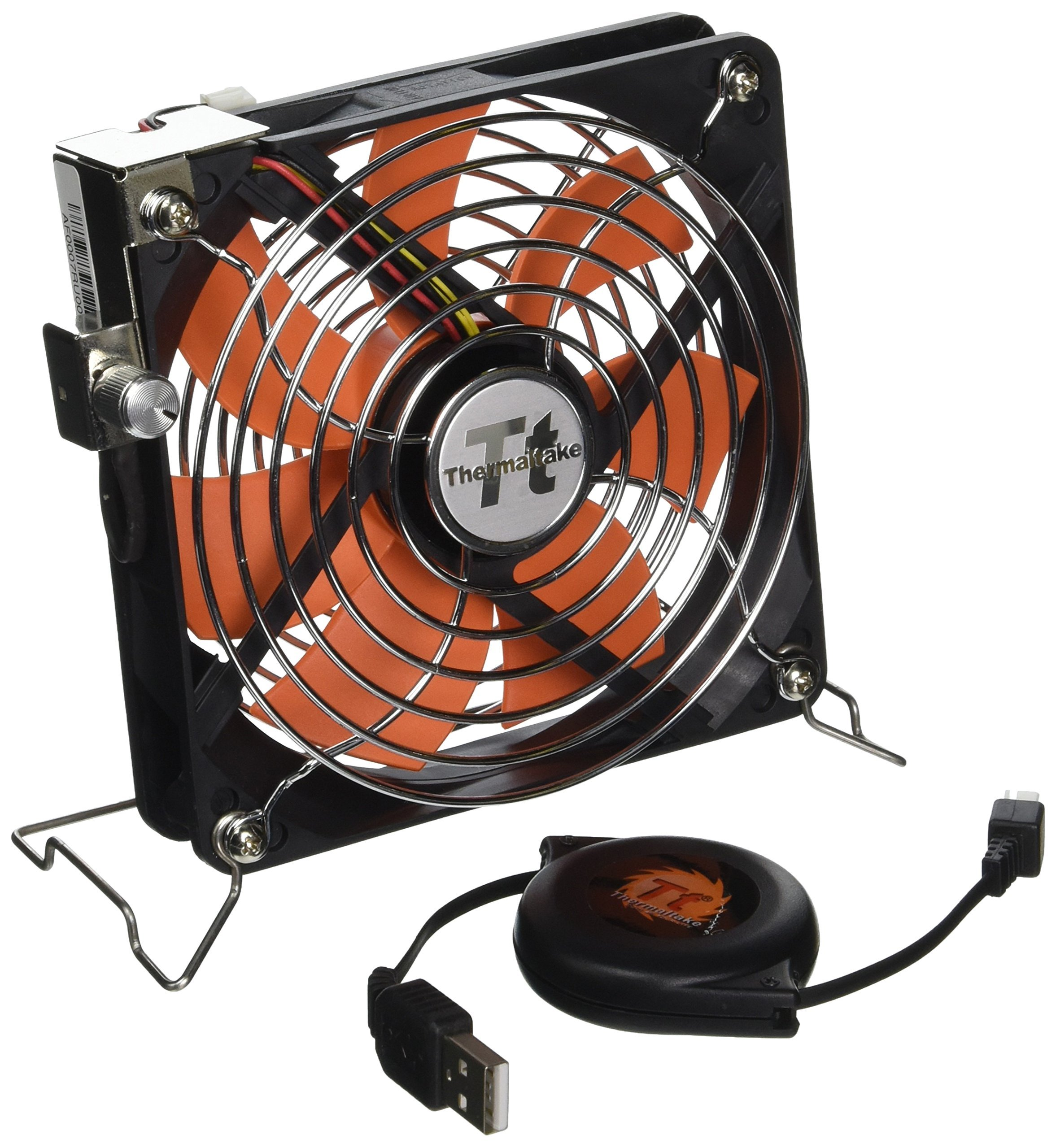 Thermaltake Mobile Fan 12 External USB Cooling 120mm Fan with One-touch Retractable USB power cable box for Notebook Laptop Desktop. AF0007 by Thermaltake (Image #1)