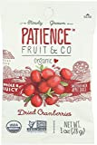 Patience Fruit & Co. Organic Dried Cranberries Fruit Snacks, 1 Ounce (Pack of 15)