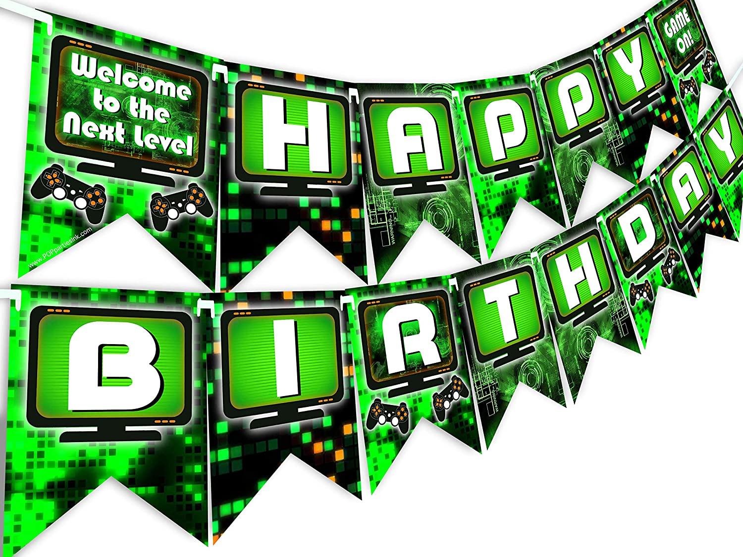 POP parties Gaming Party Happy Birthday Banner