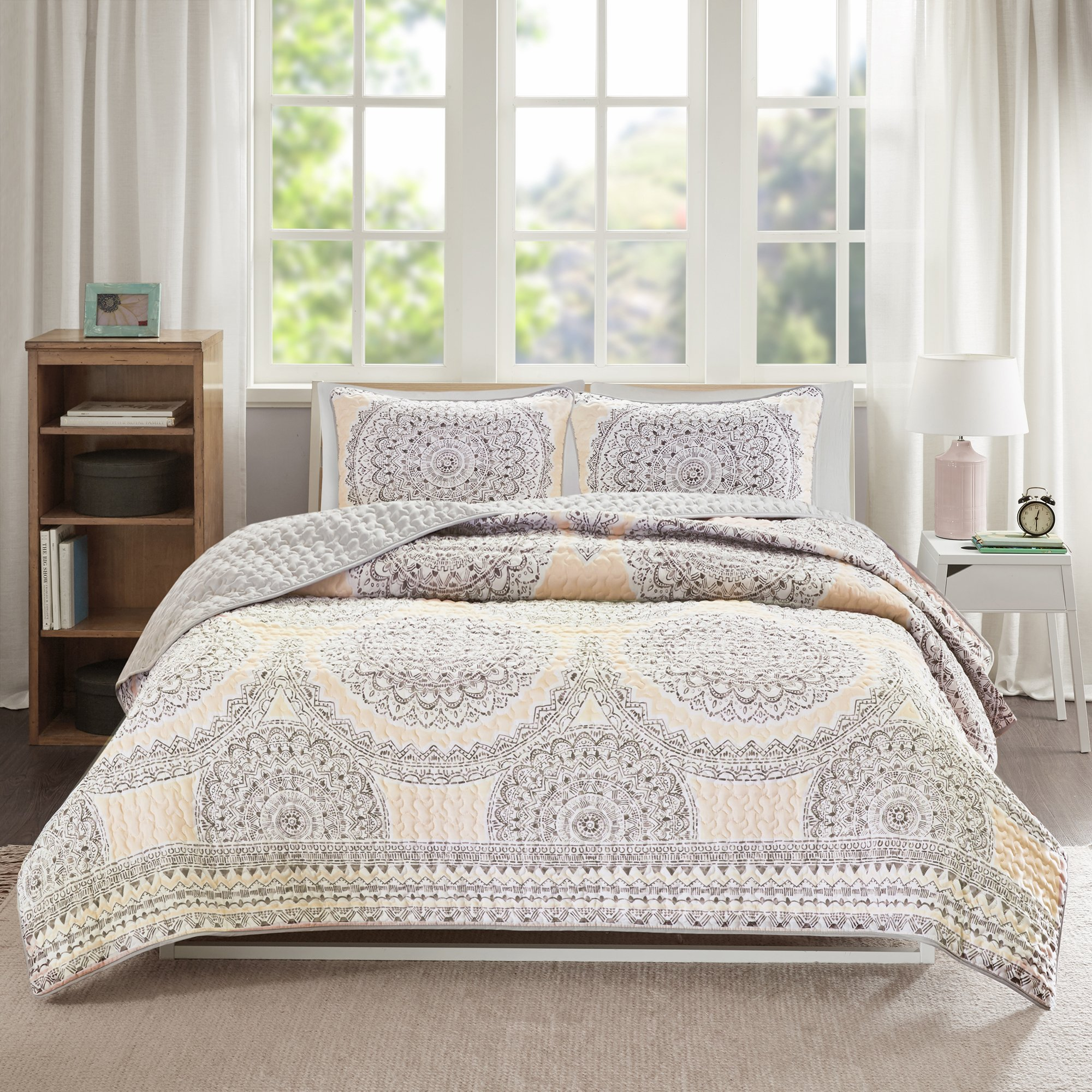 Bedding Sets Twin & Twin Xl - Quilt/Coverlet Set - 2 Pieces - Blush/Pink/Grey - Printed Medallions - Lightweight Twin Size Bedding Sets For Girls - Bedspread Fits Twin & Twin Xl - Adele by Comfort Spaces (Image #2)