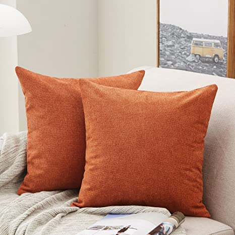 Amazon Com Mernette Pack Of 2 Thick Chenille Decorative Square Throw Pillow Cover Cushion Covers Pillowcase Home Decor Decorations For Sofa Couch Bed Chair 18x18 Inch 45x45 Cm Burnt Henna Home Kitchen