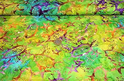 Bali Batiks Tissu 100% coton pour patchwork et patchwork 5 couleurs (BS-FAH-CO-0159- COL 1), BS-FAH-CO-0159/1, HALF METRE