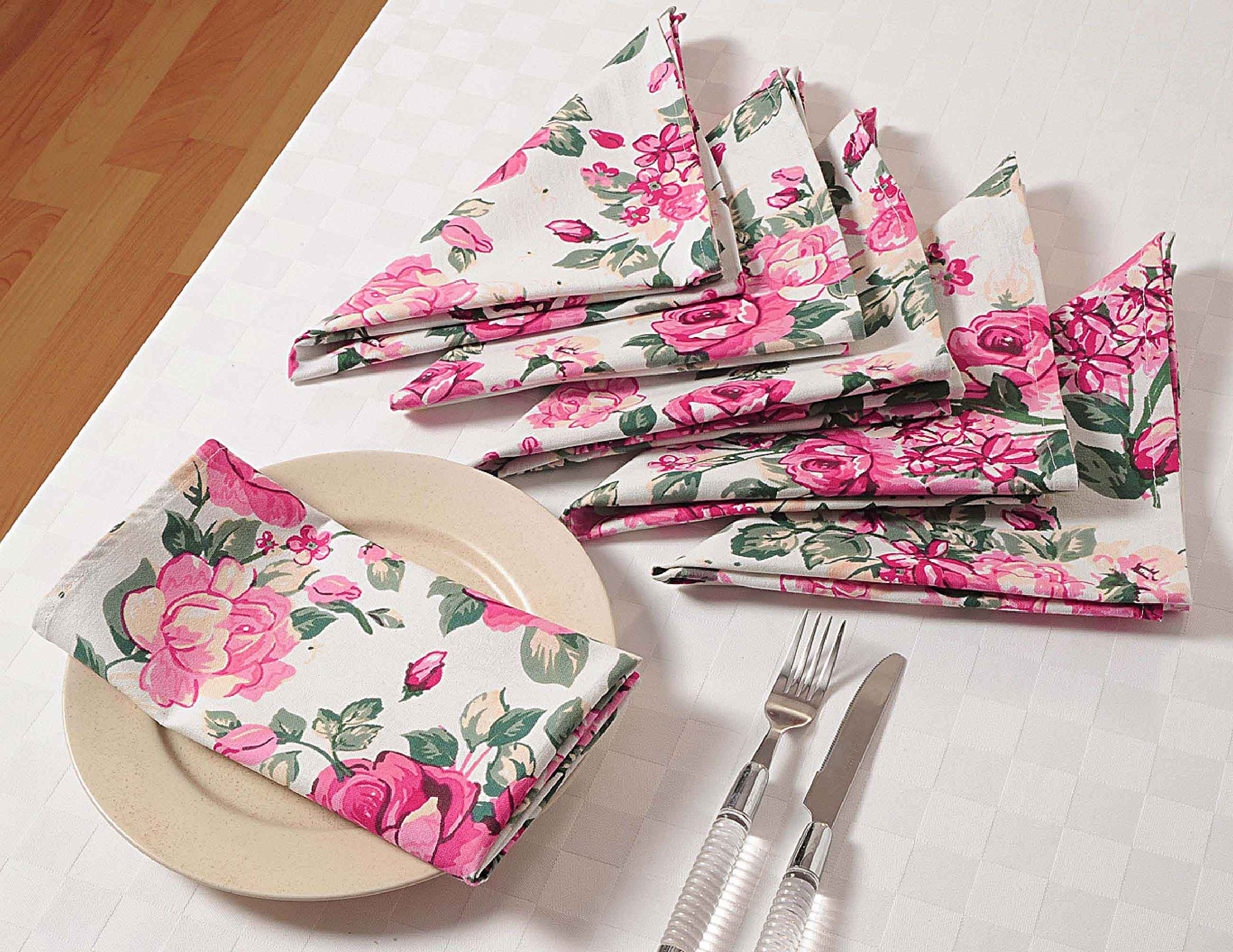 ShalinIndia Floral Cotton Dinner Napkins - 20'' x 20'' - Set of 24 Premium Table Linens for anniversary party decorations - White, Pink and Green Rose