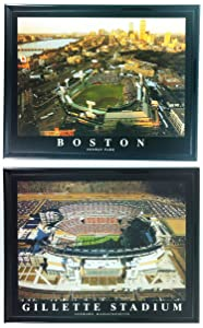 Framed Boston Red Sox and New England Patriots - Fenway Park & Gillette Stadium Prints (Set of 2)