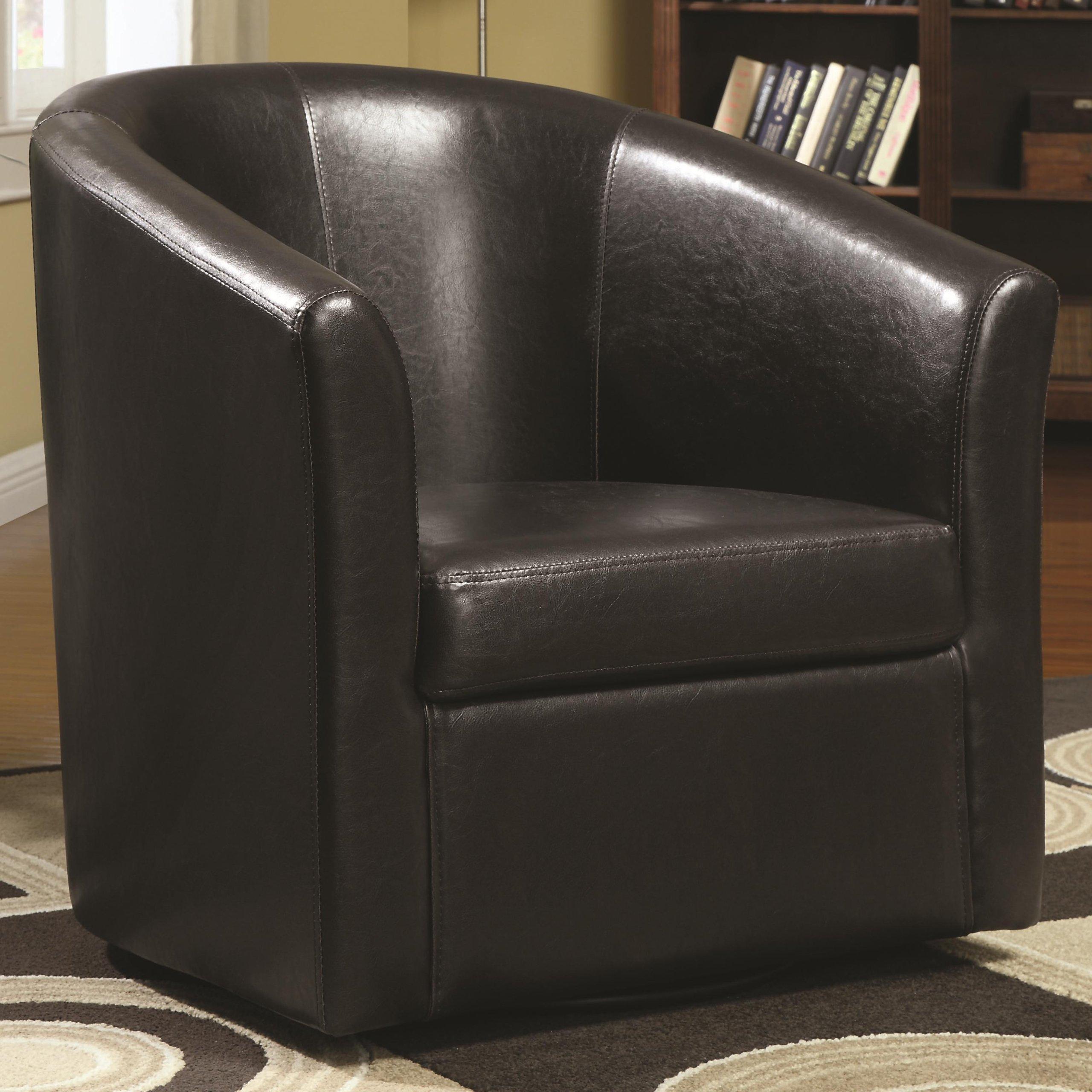 Coaster Home Furnishings  Modern Transitional Barrel Back Tub Club Arm Swivel Accent Chair - Dark Brown Faux Leather